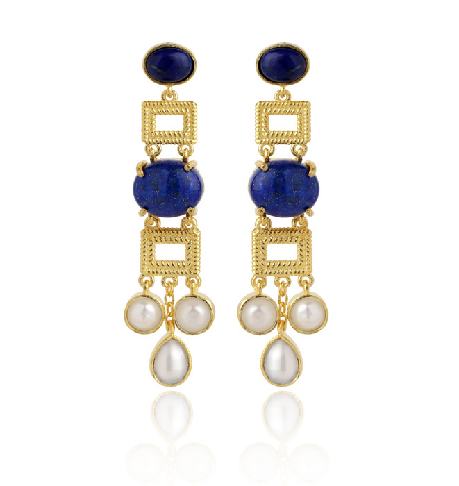 Heta Earrings - Lapis & Pearl