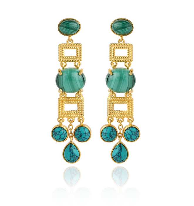 Heta Earrings - Malachite & Turquoise