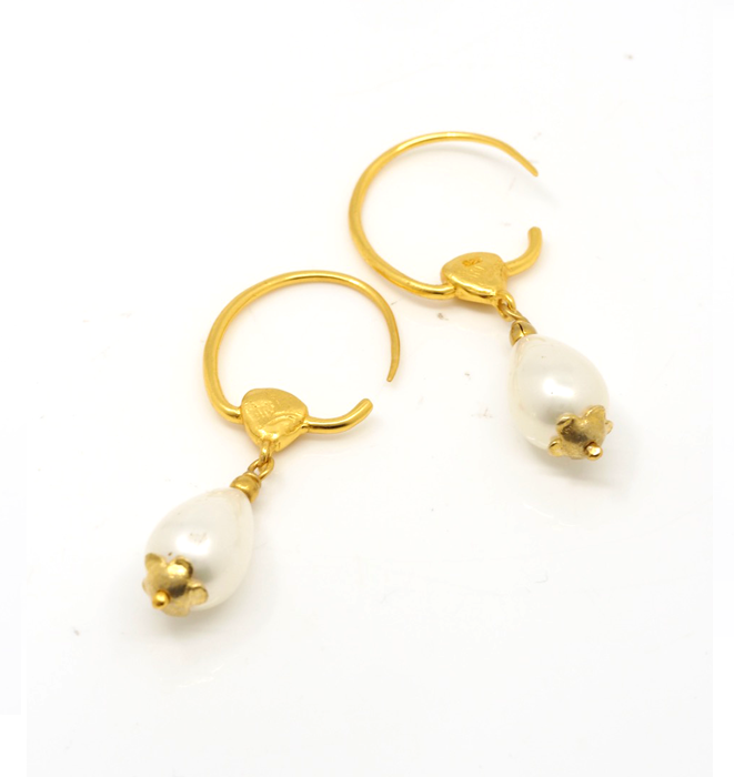 Gold Plate Hoops with Pearls
