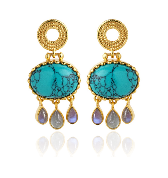 Elena Earrings - Turquoise & Labdorite