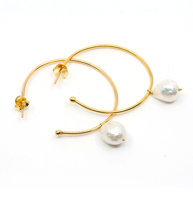 Gold Hoop and Pearl Drop Earrings