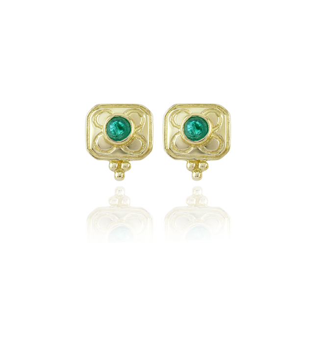 Emerald Square Stud Earrings