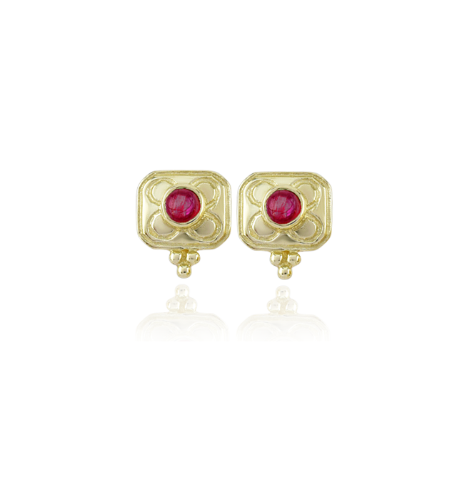 Ruby Square Stud Earrings