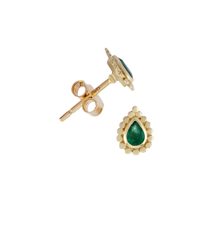 Emerald Pear Stud Earrings