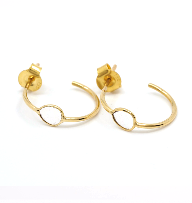 Flat Diamond Gold Hoops