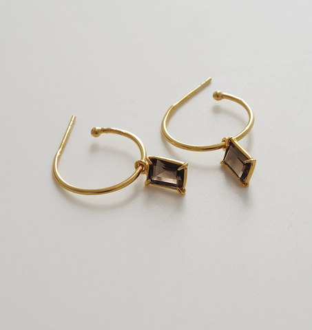 Baguette Hoops - Smokey Quartz