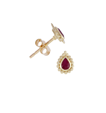 Ruby Pear Stud Earrings