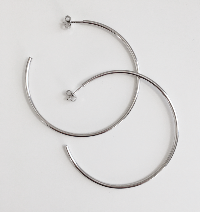 Handmade Sterling Hoops - Fine Large