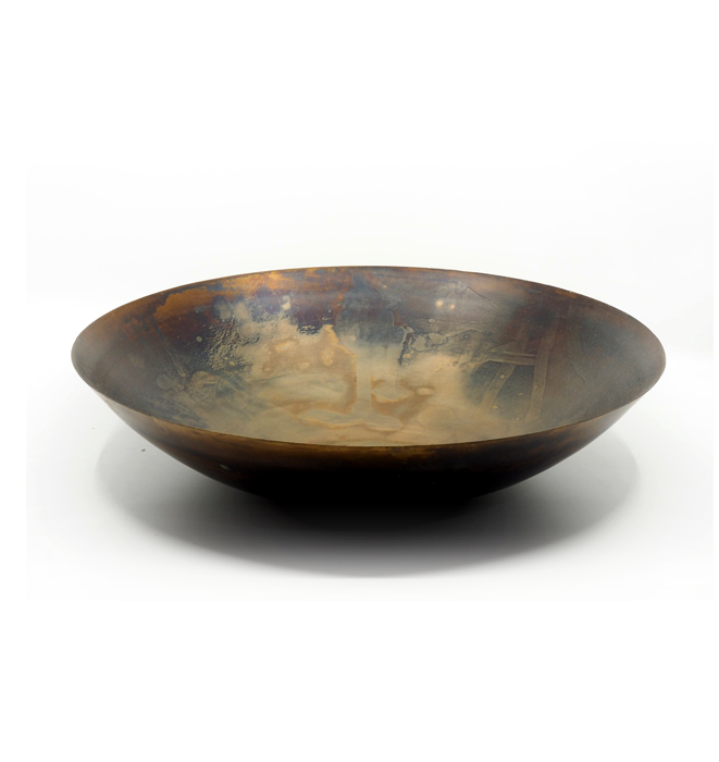 Large Burnished Metal Bowl