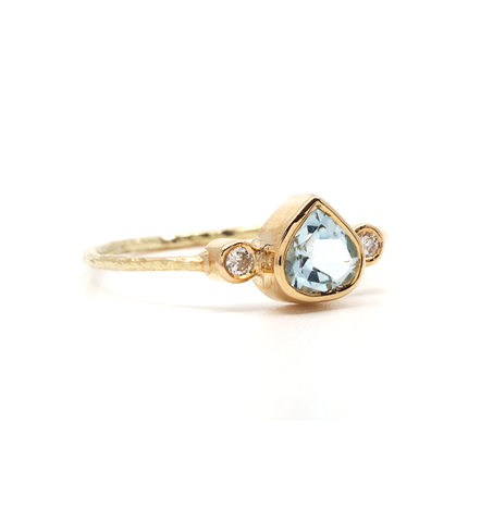 Blue Topaz & Diamond Gold Ring