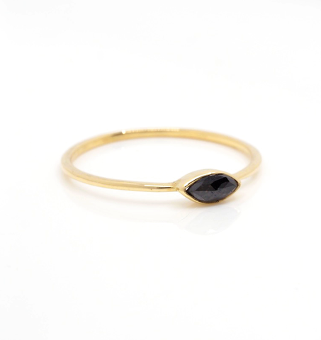 Black Diamond Marque Gold Ring