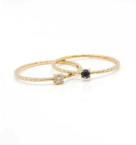 Black Diamond Stacker Gold Ring