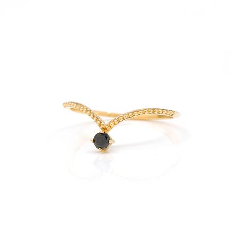 Black Diamond Beaded Gold Ring