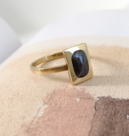 Black Diamond Flat Cut Gold Ring