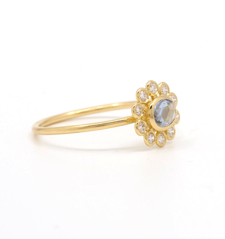 Blue Sapphire Diamond Flower Ring