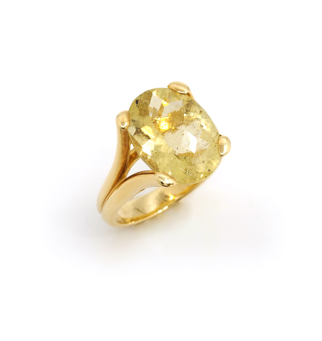 Yellow Aquamarine 18k Gold Ring