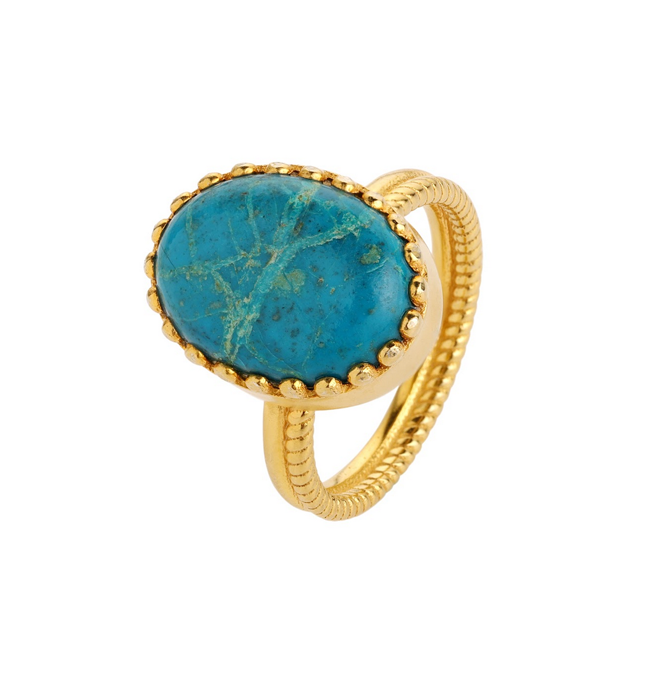 Elena Gold Ring - Chrysocolla
