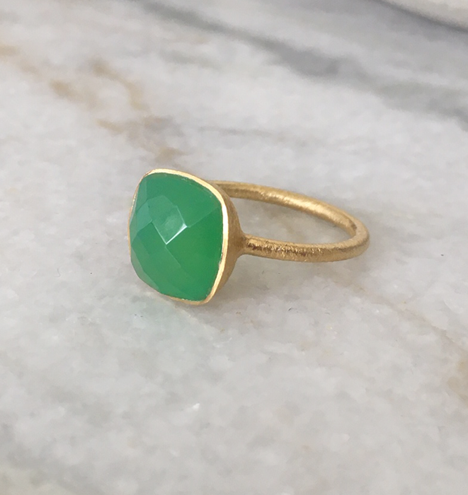 Green Chalcedony Gold Plate Ring