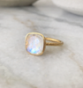 Rainbow Moonstone Gold Plate Ring