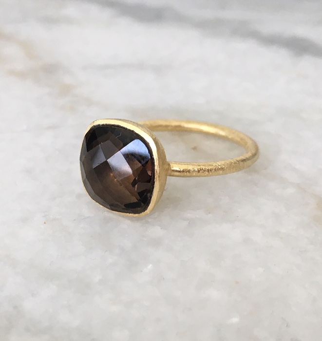Smokey Quartz Gold Plate Ring