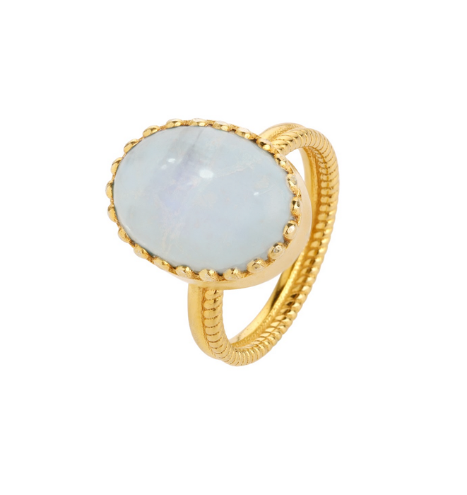 Elena Gold Ring - Moonstone