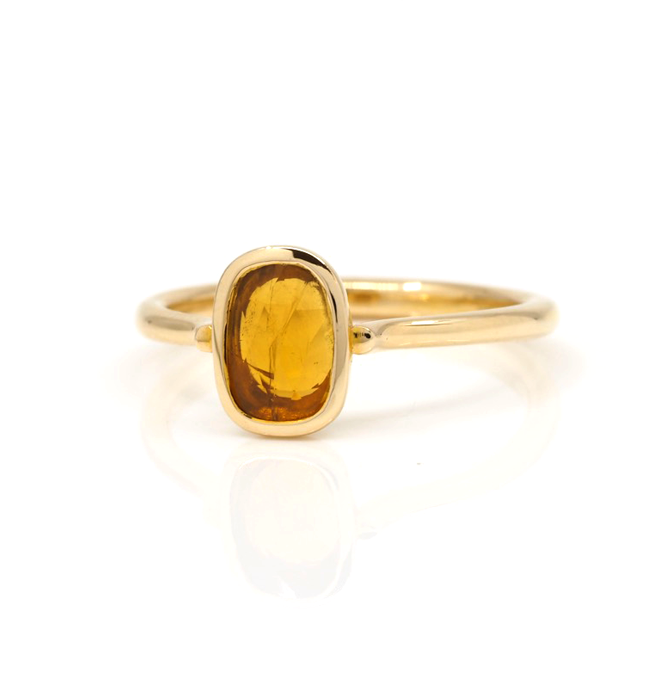 Yellow Tourmaline Gold Ring