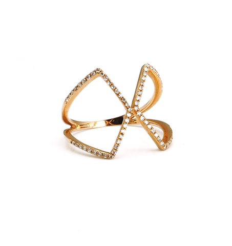 18k Gold Diamond Kite Ring
