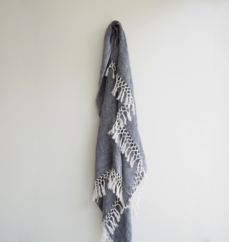 Linen Woven Navy Throw