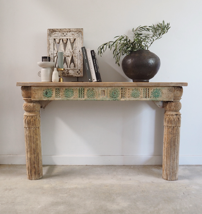 Vintage Carved Green Console