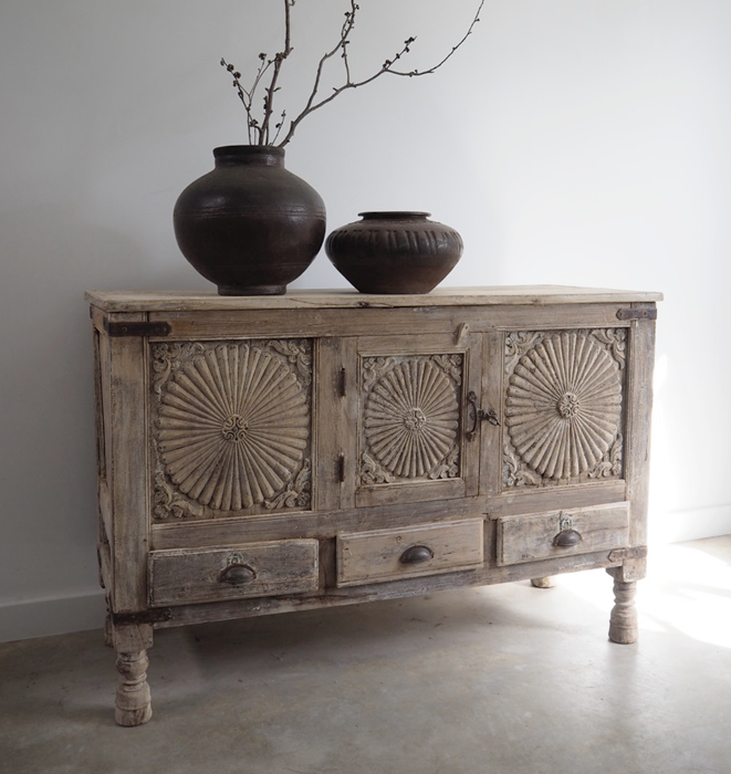 Vintage Sun Panel Carved Sideboard