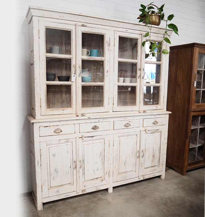 Distressed White Sotrage Cabinet