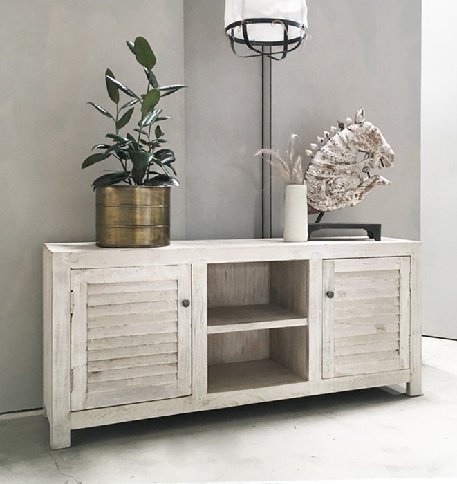 SALE - White Louvered Door Sideboard