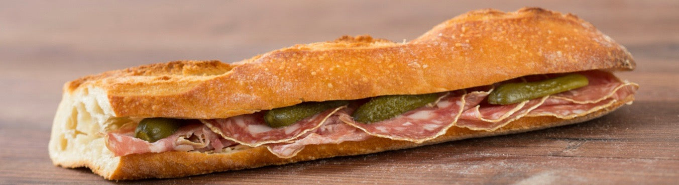 SANDWICH BAGUETTE SAUCISSON - Stephs Gourmet Foods Sandwiches baguettes French Gourmet Cheese Sauscission Stephs Gourmet Foods salumi Stephs Gourmet Foods Stephs Gourmet Foods