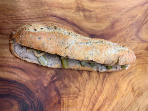 Pork Rillettes Baguette Sandwich - Stephs Gourmet Foods Sandwiches baguettes French Gourmet Cheese Sauscission Stephs Gourmet Foods salumi Stephs Gourmet Foods Stephs Gourmet Foods
