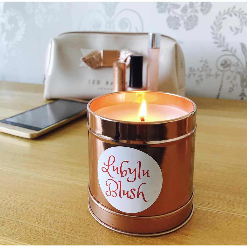 Lubylu Rose Gold soy wax candle in a tin