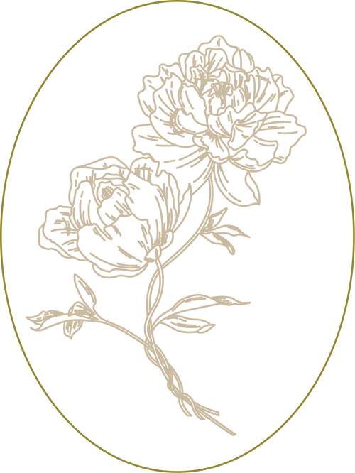 Two peonies are the logo of The Sweet Dahlings Company