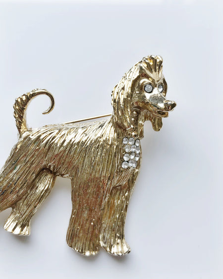 Vintage Afghan hound gold and rhinestone brooch