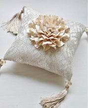 Signature Peony Ring Pillow with Swarovski Beads Tassels