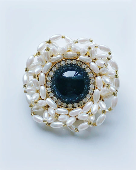Vintage pearl and black bead rhinestone brooch