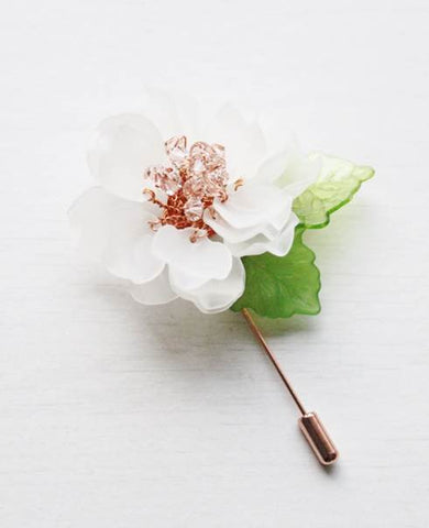 Winter Peony Frosted Petals Floral Pin