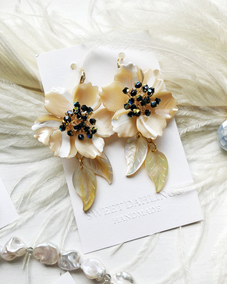 Yellow seashell floral earrings with Swarovski crystals
