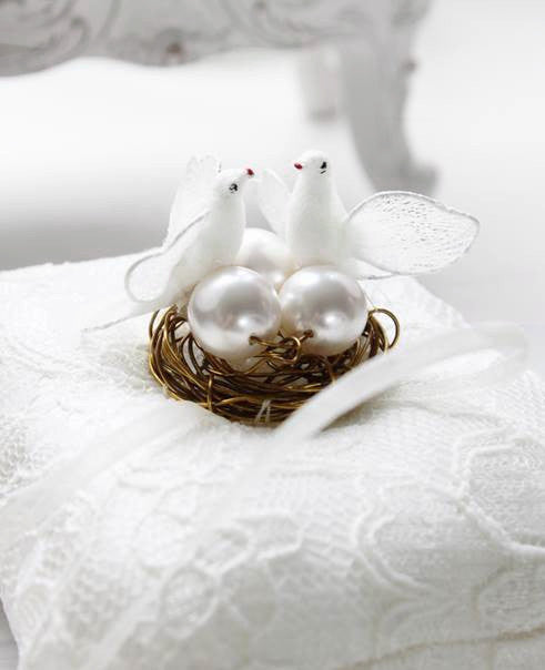 Love Birds and Nest Ring Pillow