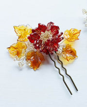 Peony and Maple Swarovski Crystal Hairpin