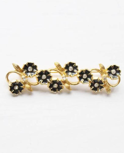 Mid-century Art Noveau Style Black and Gold Floral Rhinestone Brooch