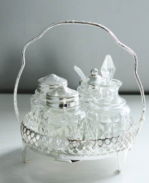 Vintage Cut Glass Silver Plated Condiment Set