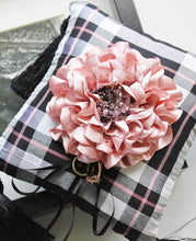 Limited Edition Handmade Peony Ring Pillow in Plaid Silk Fabric