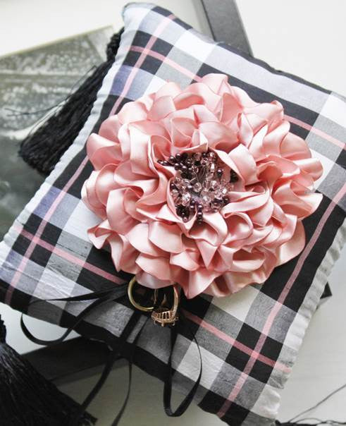 Limited edition handmade peony ring pillow in plaid silk fabric limited edition handmade peony ring pillow in plaid silk fabric mightylinksfo