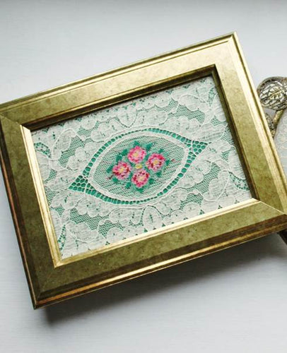 I Only Have Eyes for Beauty Antique Lace in Gold Frame