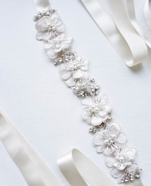 Bridal Beaded and Lace Appliqué Sash