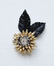 Small Dahlia Love Brooch/Boutonniere in Black and Gold